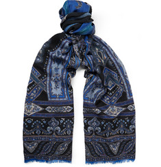 Etro Patterned Wool and Yak-Blend Scarf