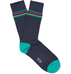 Paul Smith - Striped Ribbed Stretch Cotton-Blend Socks