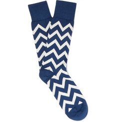 Paul Smith - Chevron-Patterned Cotton-Blend Socks