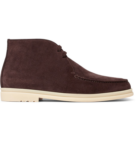 Loro Piana Walk And Walk Suede Chukka Boots In Brown