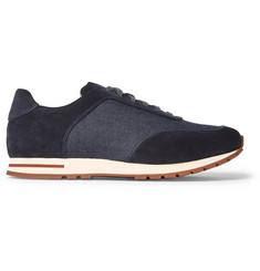 Loro Piana Weekend Walk Denim and Suede Sneakers