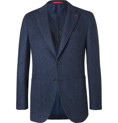 Isaia Blue Slim-Fit Brushed Wool and Cashmere-Blend Blazer