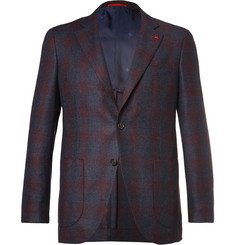 Isaia Blue Slim-Fit Checked Super 120s Wool Blazer