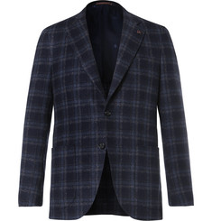 Isaia Blue Slim-Fit Checked Wool-Blend Blazer