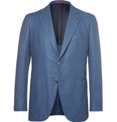 Isaia Blue Slim-Fit Brushed Wool, Cotton and Cashmere-Blend Blazer