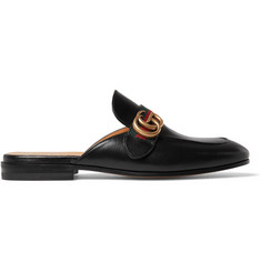 Gucci Webbing-Trimmed Leather Backless Loafers