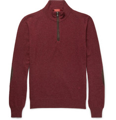Isaia Suede-Trimmed Cashmere Half-Zip Sweater