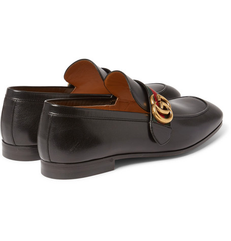GUCCI Webbing-Trimmed Leather Loafers  in Black