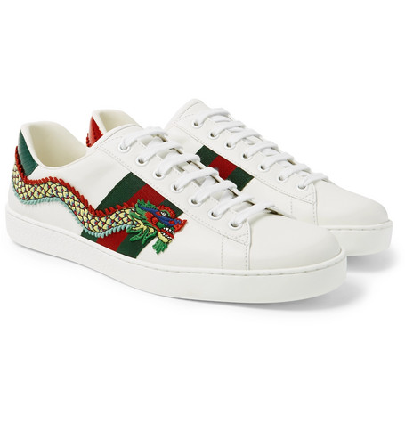 Ace Appliquéd Watersnake And Leather Sneakers - White