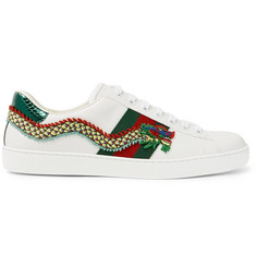 Gucci Ace Appliquéd Watersnake and Leather Sneakers