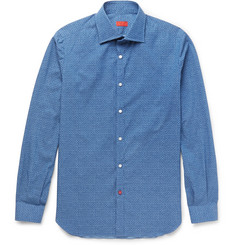 Isaia Slim-Fit Printed Cotton-Poplin Shirt