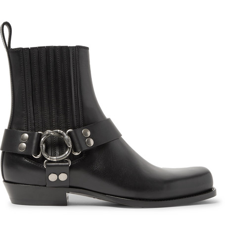 GUCCI Embellished Leather Harness Boots in Black