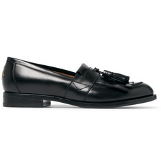 Gucci Embroidered Leather Kiltie Loafers