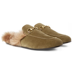 Gucci Princetown Horsebit Shearling-Lined Velvet Backless Loafers