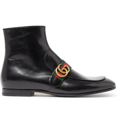 Gucci Donnie Webbing-Trimmed Leather Chelsea Boots