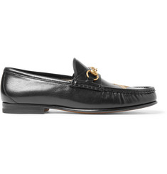 Gucci Roos Horsebit Embroidered Leather Loafers