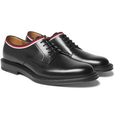 Gucci - Grosgrain-Trimmed Leather Derby Shoes
