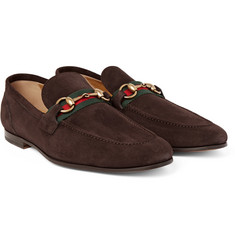 Gucci - Elanor Horsebit Webbing-Trimmed Suede Loafers