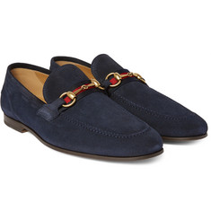 Gucci - Horsebit Webbing-Trimmed Suede Loafers