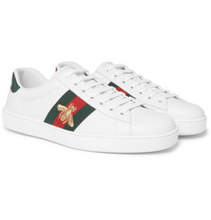 Gucci - Ace Watersnake-Trimmed Embroidered Leather Sneakers