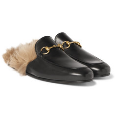 Gucci - Princetown Horsebit Shearling-Lined Leather Backless Loafers