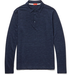 Isaia Mélange Wool and Cotton-Blend Polo Shirt