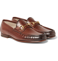 Gucci - Roos Horsebit Burnished-Leather Loafers