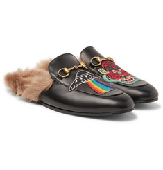 Gucci - Princetown Shearling-Lined Embellished Leather Backless Loafers
