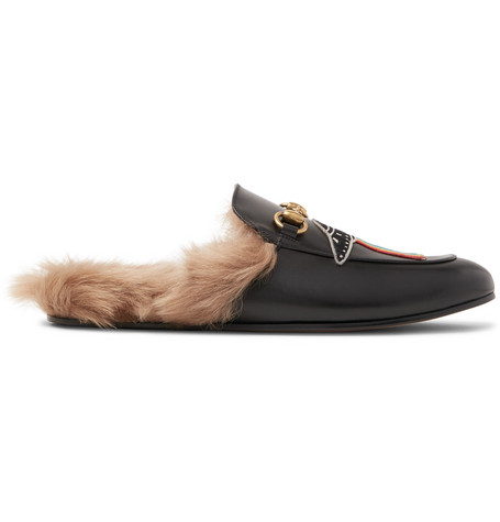 Gucci Leathers PRINCETOWN SHEARLING-LINED EMBELLISHED LEATHER BACKLESS LOAFERS