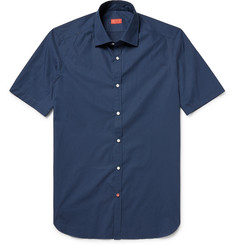 Isaia - Slim-Fit Pin-Dot Cotton-Poplin Shirt