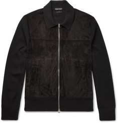 TOM FORD - Suede-Panelled Merino Wool Jacket