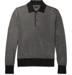 TOM FORD Contrast-Trimmed Knitted Silk and Wool-Blend Polo Shirt