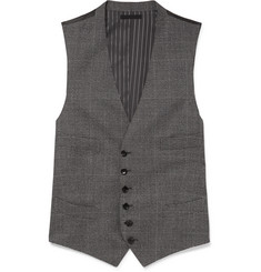 TOM FORD Grey Slim-Fit Prince of Wales Checked Wool Waistcoat