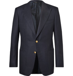 TOM FORD Blue Windsor Basketweave Wool and Mohair-Blend Blazer