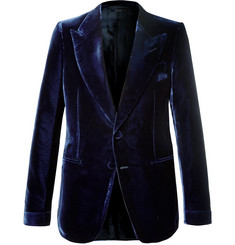 TOM FORD - Navy Shelton Slim-Fit Velvet Tuxedo Jacket