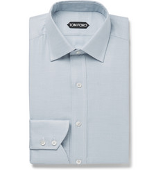 TOM FORD Blue Slim-Fit Micro-Puppytooth Cotton-Blend Shirt