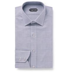 TOM FORD - Grey Slim-Fit Prince Of Wales Checked Cotton Shirt