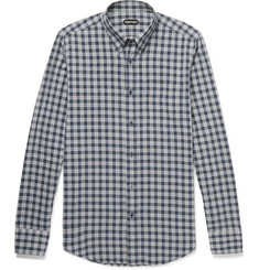 TOM FORD Rady Slim-Fit Button-Down Collar Checked Cotton-Voile Shirt