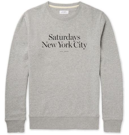 SATURDAYS SURF NYC Bowery Miller Printed Loopback Cotton-Jersey Sweatshirt in Gray