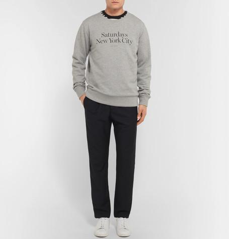 SATURDAYS SURF NYC Bowery Miller Printed Loopback Cotton-Jersey Sweatshirt