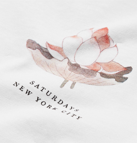 SATURDAYS SURF NYC Lotus Flower Printed Cotton-Jersey T-Shirt