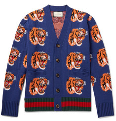 Gucci Tiger-Jacquard Wool Cardigan