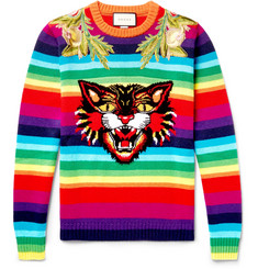 Gucci Angry Cat Embroidered Intarsia Wool Sweater