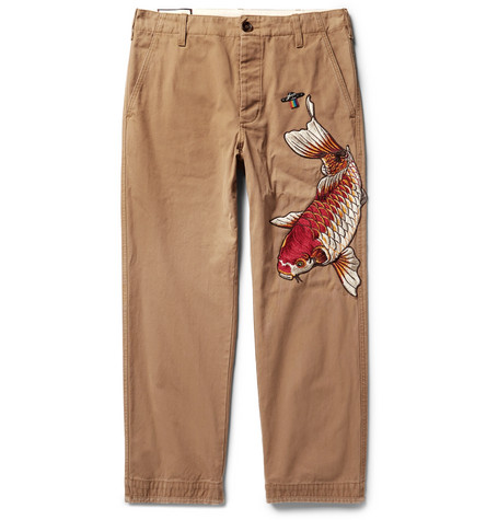 Appliquéd Cotton-twill Chinos - Tan