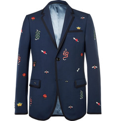 Gucci Navy Slim-Fit Embroidered Wool and Mohair-Blend Twill Suit Jacket