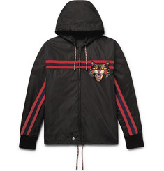 Gucci Appliquéd Shell Hooded Jacket
