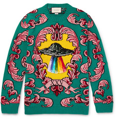 Gucci Embroidered Appliquéd Wool-Jacquard Sweater