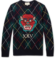 Gucci Appliquéd Argyle Wool Sweater