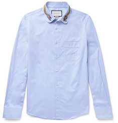 Gucci - Slim-Fit Embroidered Penny-Collar Cotton Shirt