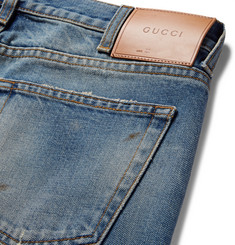 Gucci Slim-Fit Embroidered and Distressed Denim Jeans